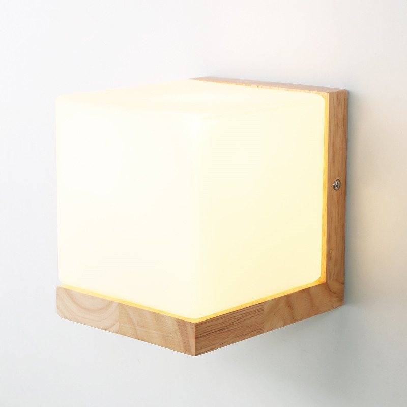 Modern Oak Wood Wall Lamps Cube Sugar Lampshade Bedroom Bedside Wall Light Home Wall Sconce lotus Light Fixtures Indoor Lighting футболка cube sugar t vip
