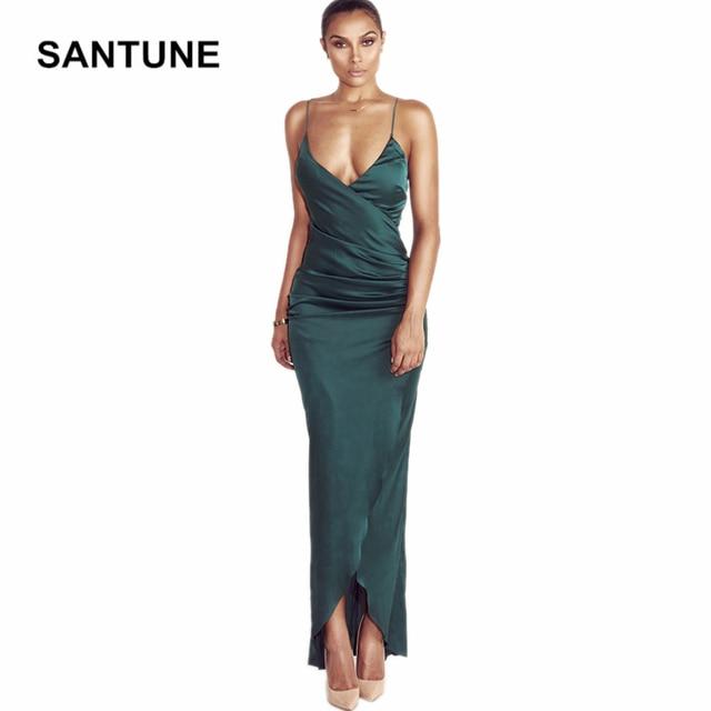 8fcd5a7f42 Santune Silk Stain Women Dress V Neck Split Dress Summer 2017 Red Green  Maxi Long Party Backless Nightclub Dresses Wholesale
