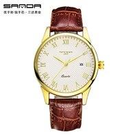 SANDA Luxury Famous Brand Golden Silver Watch Men Vogue Leather Quartz Casual Men S Wrist Watches
