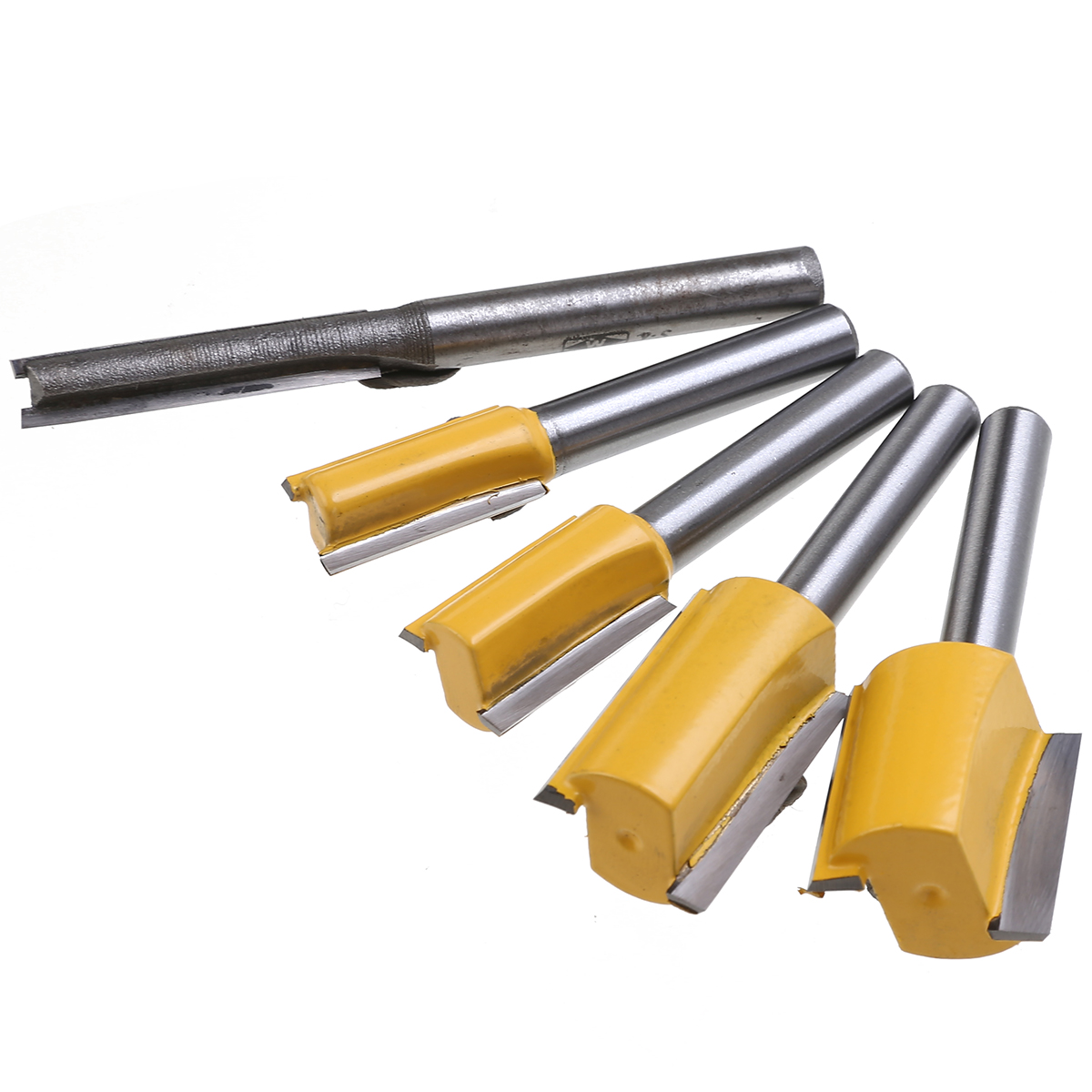 """5pcs Straight Router Bits Set Hard Alloy 1/4"""" Shank Trimming Cutter Woodworking Tools 1/4"""" 3/8"""" 1/2"""" 5/8"""" 3/4"""" Cutting Diameter"""