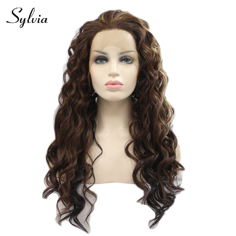 Sylvia mixed brown with blonde highlight bouncy curly synthetic lace front wigs free parting heat resistant fiber hair