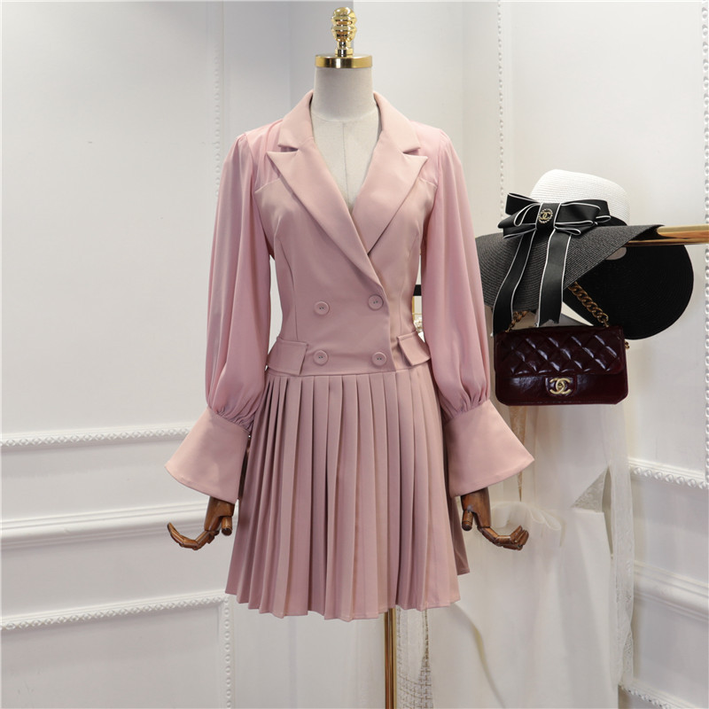 High Quality Spring Dress New Fashion 2019 Women Solid Color Office Dress Notched Flare Sleeve Button