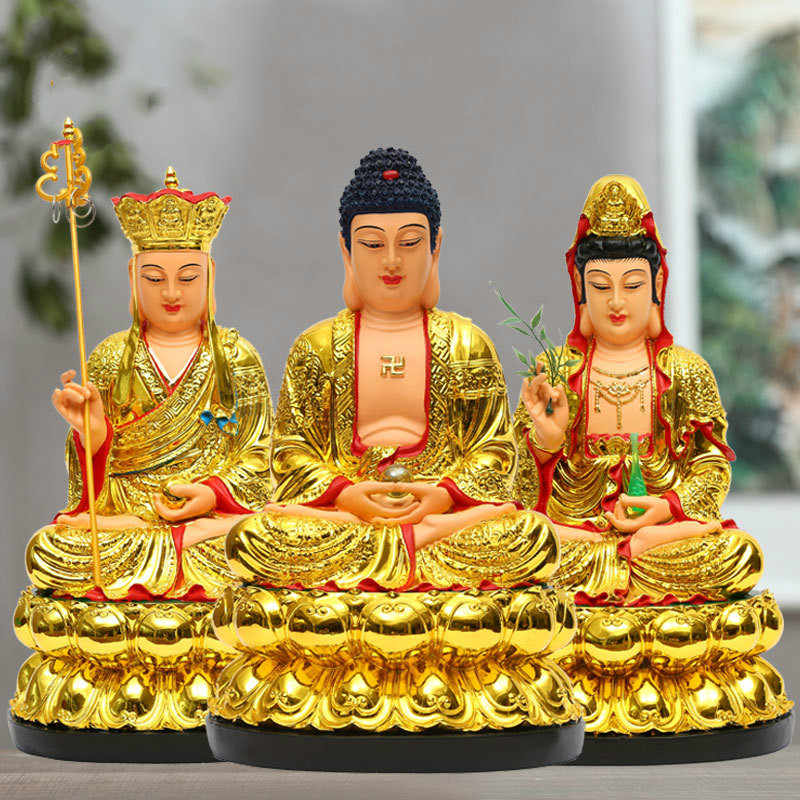 Resin Material of Chinese Buddhists Guanyin Buddha Statue: 12-inch Home Decoration Temples of Tibetan King Bodhisattva