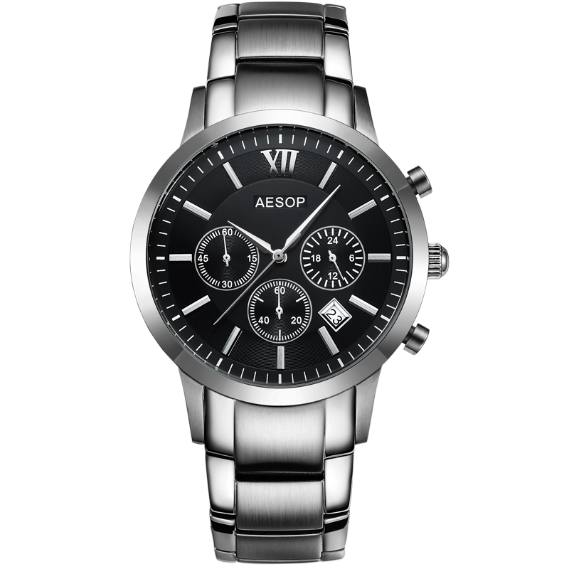 AESOP Stopwatch sport watch Sapphire Crystal hours Men Quartz Full steel Male Clock Relogio Masculino waterproof 100 meter