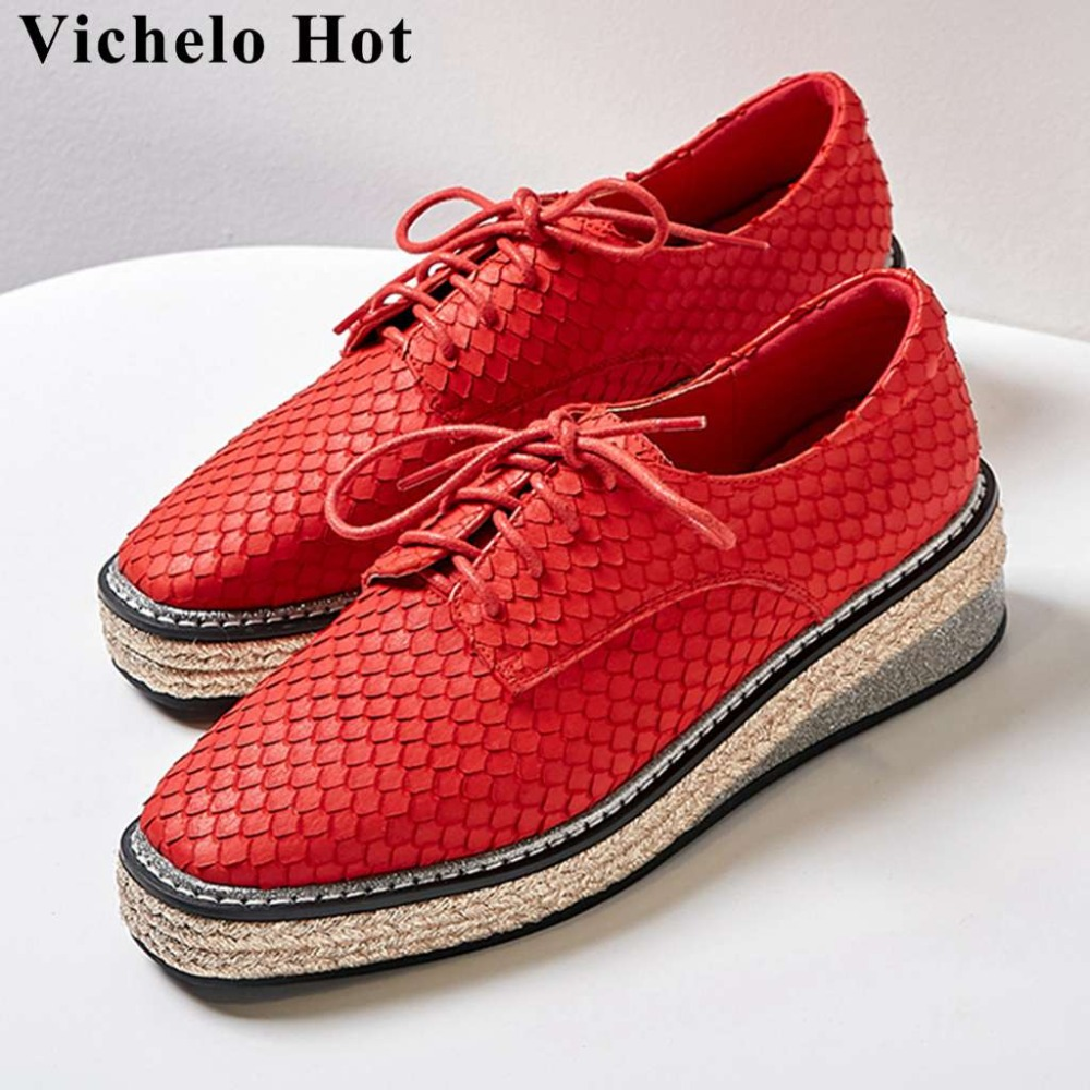 Vechelo Hot cow leather fashion fish scale pattern straw decoration square toe women pumps square toe dating party shoes L25