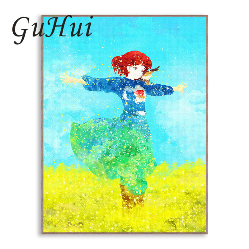 Watercolor Japanese Anime Beauty Girl In Wheat Field Abstract Landscape Canvas Painting Wall Art Poster for Living Room Decor