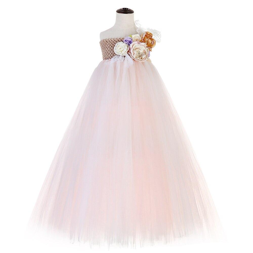 Flower Girls One Shoulder Toddler Party Dress Beige Top Pink White Polyester Tulle Lace Evening Dresses Vintage Dress Kids Tutu in Dresses from Mother Kids