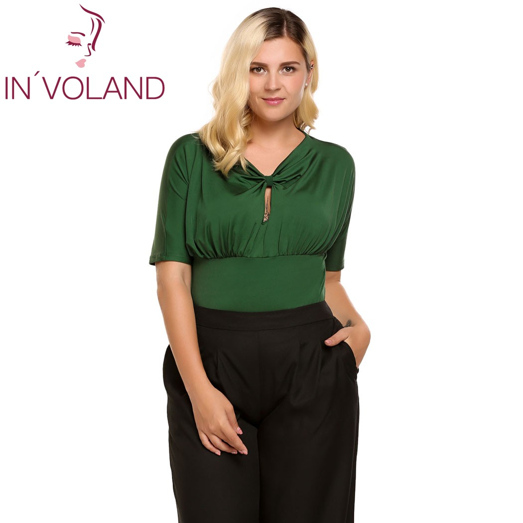 IN VOLAN Women T Shirt Tops Summer Plus Sizes Keyhole Front Knot Short Sleeve V Neck