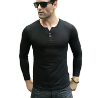 Men S Henley Shirt 2016 Tees Tops Long Sleeve Cotton Slim Fit T Shirt 2 Button