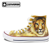Original Design Lion Jungle King Hand Painted Shoes Man Woman Athletic Sneakers High Top Converse All Star Brand Style