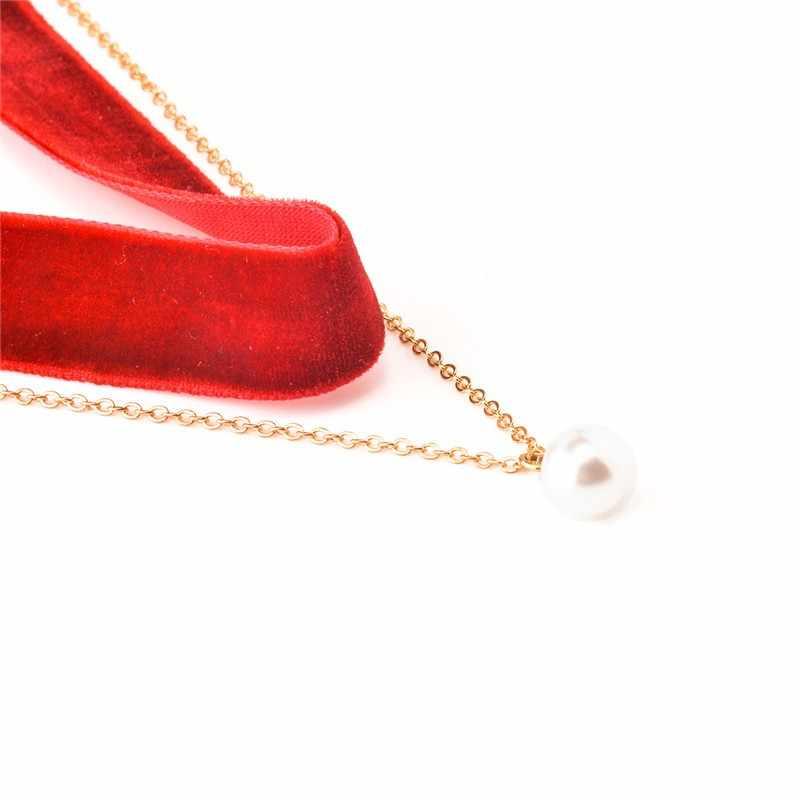 Gothique mode velours collier ras du cou noir rose Boho Double couche Imitation perles pendentif collier femmes collier accessoires