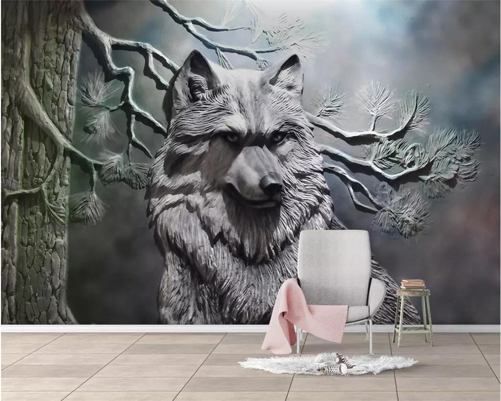 Beibehang Custom Wallpaper 3D Photo Mural Embossed Forest Wolf Living Room Wall Decoration Painting 3d Wallpaper Papel De Parede