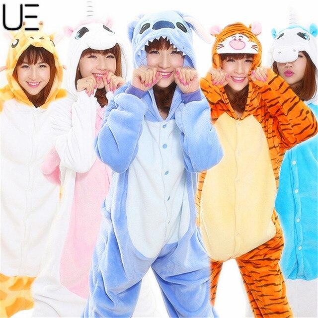 Primavera Al Por Mayor Unicorn Stitch Panda Unisex Franela Con Capucha Pijamas Traje Cosplay Animal Bodies Pijamas Para Hombres de Las Mujeres