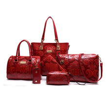 Frauen Umhängetaschen Mode Im Chinesischen Stil 10 Farben Big Tote Femininas Bolsas Eleganten Handtaschen Aus Echtem Leder Tasche 6 Teile/satz