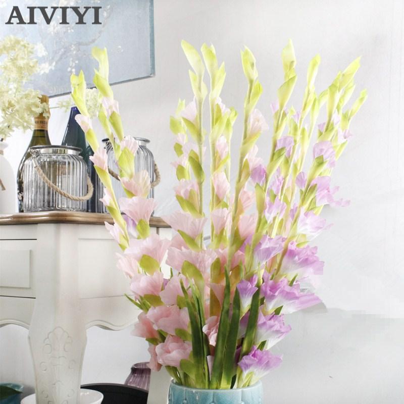Acheter Plantes artificielles et Fleurs Soie Glaïeul Glaïeuls Souches Faux Épée Lily Parti Centres Artificielle Fleurs Décoratives de Artificielle et Fleurs Séchées fiable fournisseurs