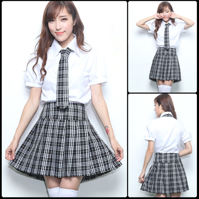 Fashion British Style Costume For Women Korean Japanese Junior High School Cosplay Girls Uniform Plaid Female Skirt Suits ZQ003
