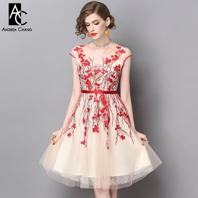 310031d92 € 63.8 |Printemps été piste designer robe de femme beige gaze robe rouge  fleur broderie haute qualité S XXL partie robe de bal dans ...