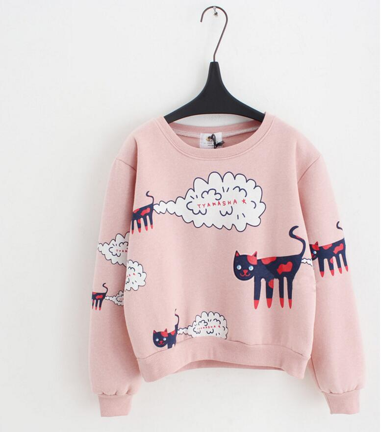 New Spring Autumn Women Cartoon Cat Pattern Sweatshirts