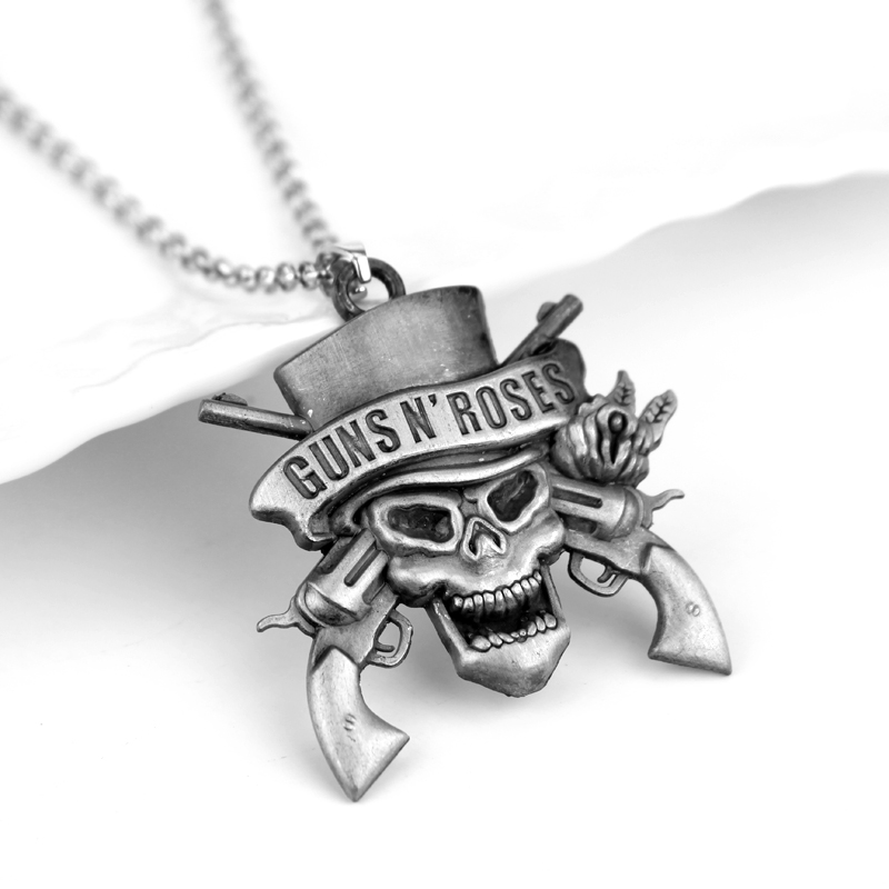 Rock Music Band Guns N 'Roses Skull Death Logo Pendants Necklaces Necklace for Woman Man Music Series Jewelry image