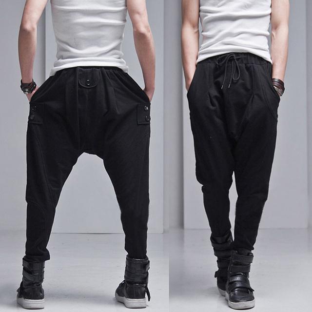 Envío gratis nueva moda más tamaño para hombre pantalones ocasionales delgados grandes pantalones gota entrepierna pantalón mujeres bailan Hip Hop hombres Harem pantalones