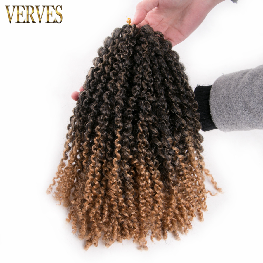 brown crochet braids hair 8 pack 12'' synthetic Kinky Twist VERVES ombre braiding hair Extensions free shipping