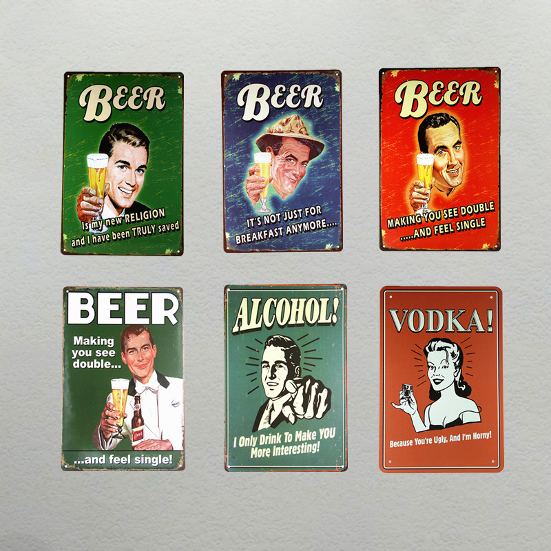 T-Ray Beer ALCOHOL VODKA Tin plate Sign Garage shop man cave Retro Metal Art Poster Wall Decor 20*30CM