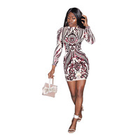 Women Dresses 2019 Celebrity Elegant African Long Sleeve Sexy Short Evening Party High Waist Bodycon Embroidery Sequin Dress 35