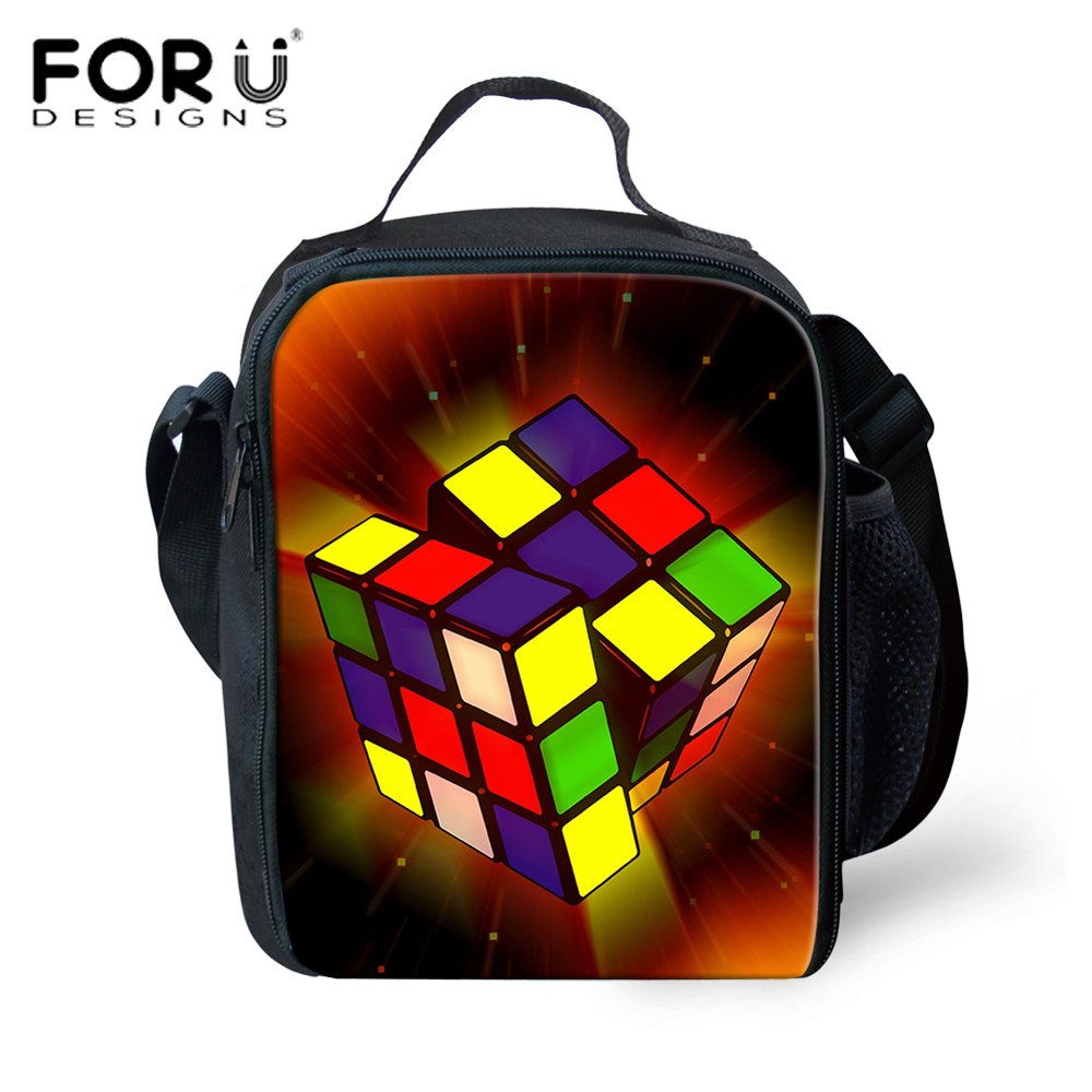 FORUDESIGNS 3D Magic Cube Printing Lunch Bags Insulated Thermal Food Picnic Lunch Bags for Kids Boys Girls Cooler Lunch Box Bag