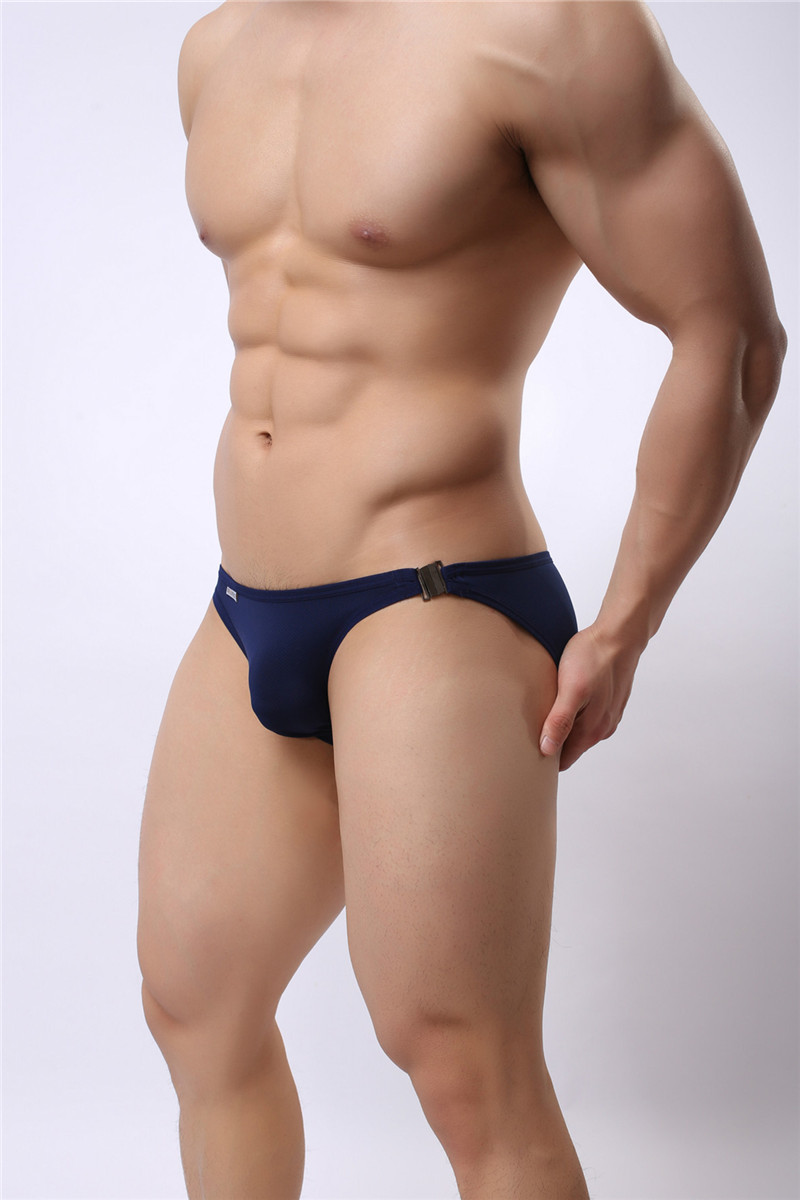 Mens Nylon Slip Small Mesh Breathable Briefs Low Rise Sexy Fashion Lock Buckle Men Bikini Underwear Briefs Brave Person 11