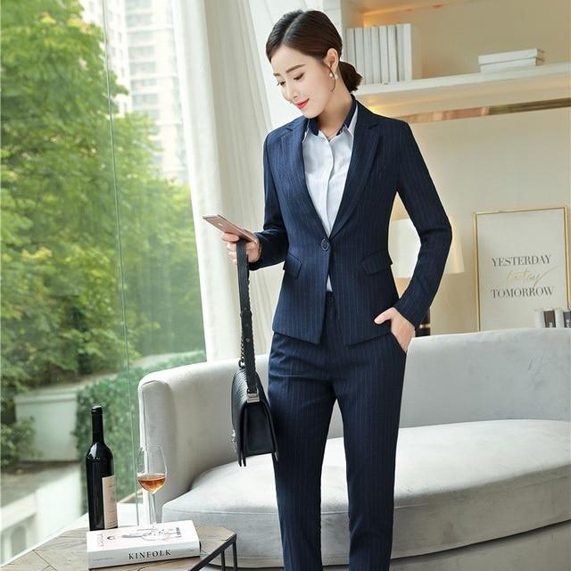 Nuevo 2019 Formal azul marino Blazer Mujer Pantalones trajes ropa de trabajo  señoras negocios chaqueta conjuntos b35194289c18