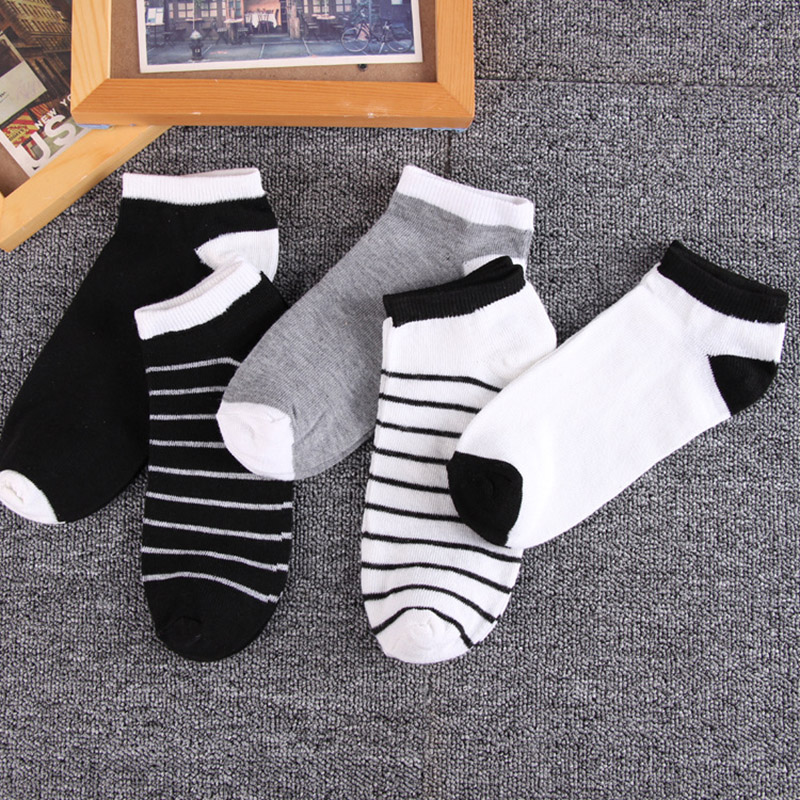 Men cheap cotton business socks black white stripe dress socks women Low profile Ankle solid Invisible socks fashion summer