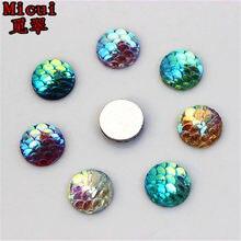 100pcs 10mm AB Color Round Resin Rhinestone Fish Scale Flatback Crystal  Stones Gems For clothing Crafts 2b399e6efa64