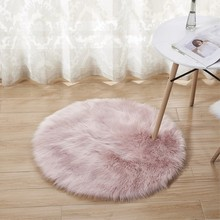 RAYUAN Luxury Round Pink Sheepskin Hairy Carpet Faux Mat Seat Pad Fur Plain Fluffy Soft Area Rug Tapetes 30-140cm(China)