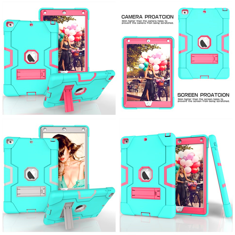 For iPad 9.7 2017 Case A1822 A1823 Cover Kids Baby Safe Armor Shockproof Silicone+PC Back Cover Case For Ipad 9.7 2017