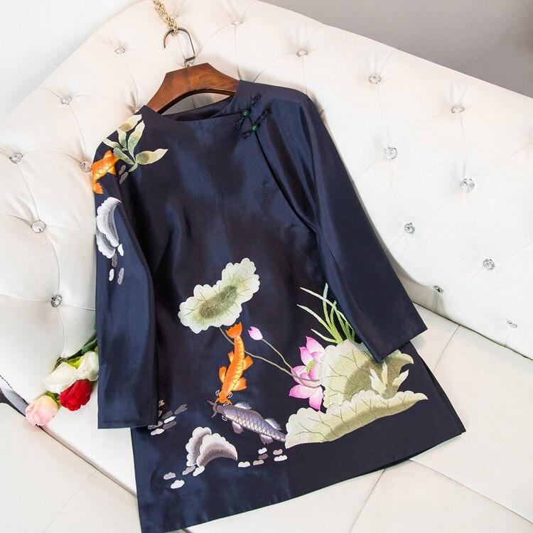 2019 nouvelle dame Satin Blouse amélioré Style chinois chemise exquise broderie Floral haut à la main bouton Mandarin col hauts