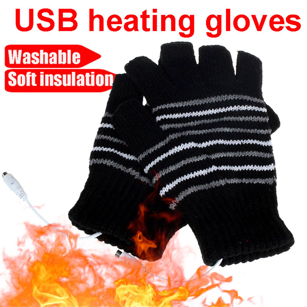 5V  USB Knitted Heating Gloves Battery Powered For Heated Gloves Hunting Winter Gloves Motorbike Motorcycle Warm Gloves