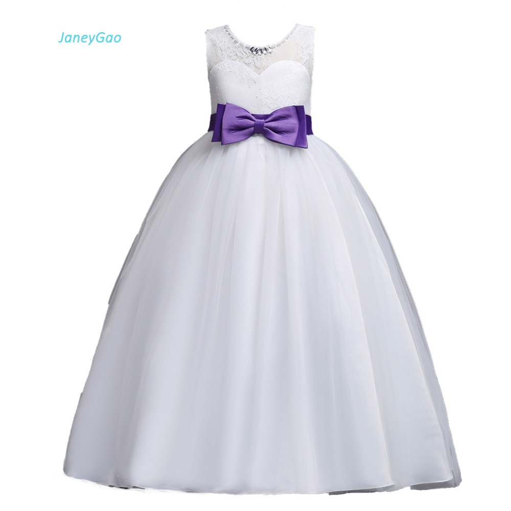JaneyGao Flower Girl Dress For Wedding Party White Floor Length 4 14Y First Communion Dress Pageant