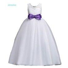 Купить с кэшбэком JaneyGao Flower Girl Dress For Wedding Party White Floor Length 4-14Y First Communion Dress Pageant Dress Lace Formal Gown 2018