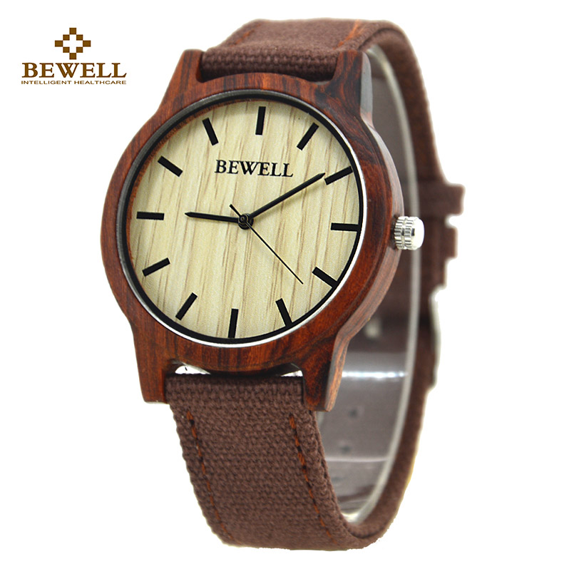 BEWELL Wood Watch Men and Women Canvas Strap Ultra-Thin Simple Quartz Watches Christmas Gift for Men Wristwatches Family 134A