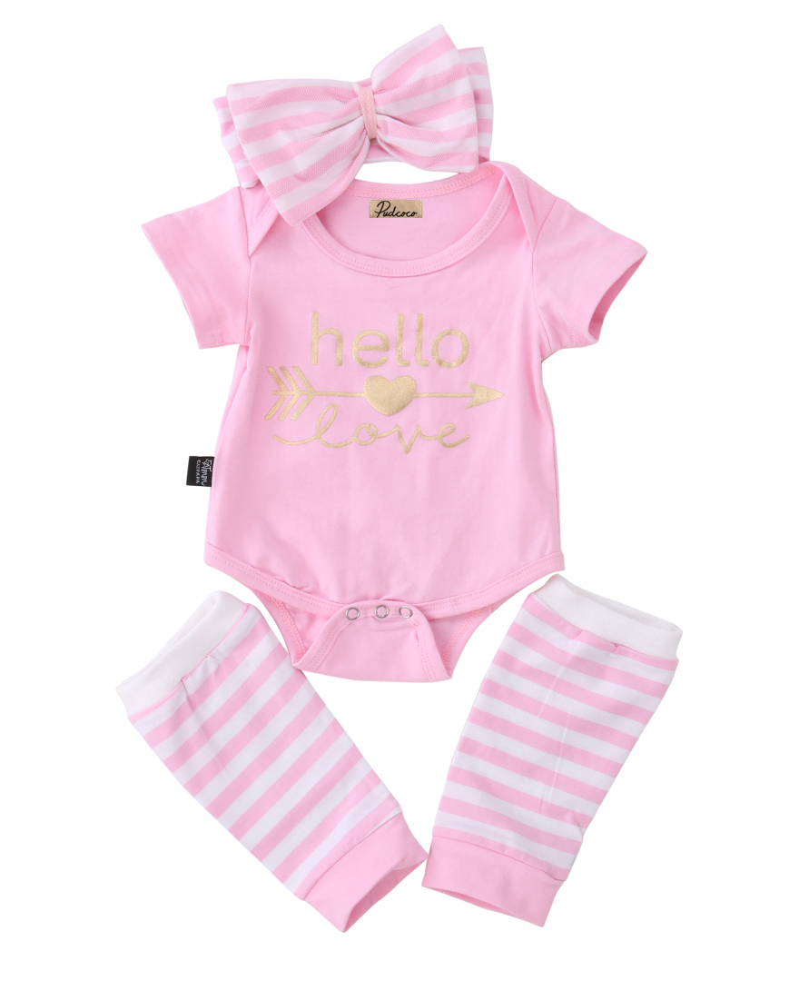 Newborn Infant Baby Girl Short Sleeve Arrow Romper+Striped Leg Warmers Headband 3pcs Pink Outfits Set Clothes 3pcs set newborn infant baby boy girl clothes 2017 summer short sleeve leopard floral romper bodysuit headband shoes outfits