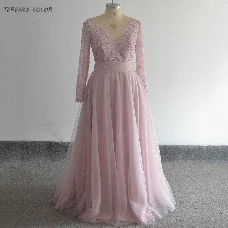 Réel échantillon glamour détachable robe de soirée col en V Tulle manches longues Appliques perlées transparent dos femmes robe de bal