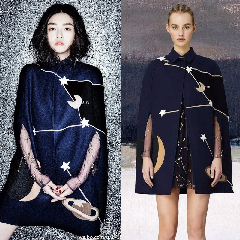 Haute qualité marque design Cape manteau mode femmes pistes vintage manteau de laine broderie lune et étoile manteau D634