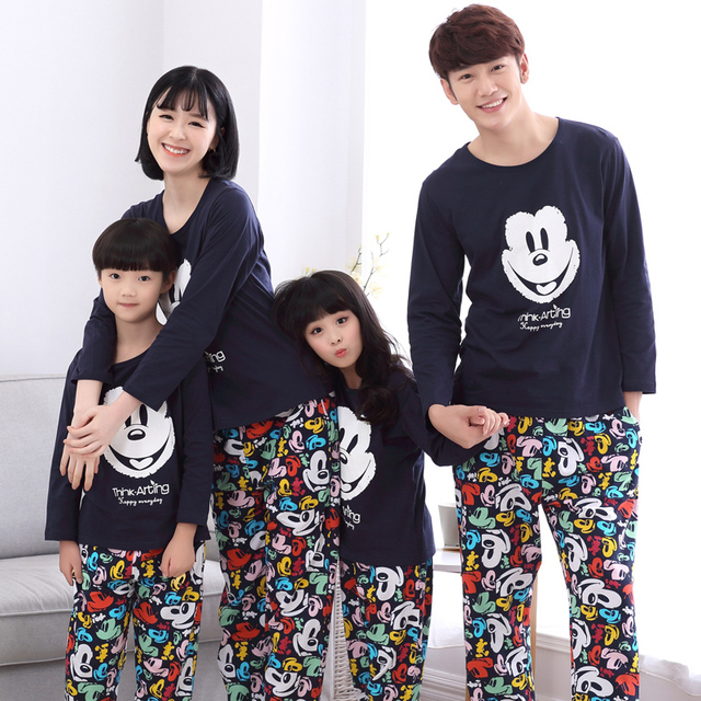 Family Matching Outfits Baby Mom Women Girl Kids Spring Fall Pajamas Mother Father Child Pajamas Family Matching Clothings MM43