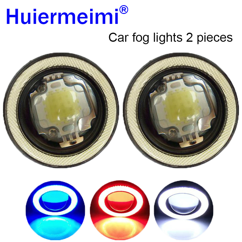 Huiermeimi 1 Pair Car Fog lights Angel Eyes 64mm 76mm 89mm Auto COB LED DRL Driving Fog Lamp Automobile Fog Light 12V 30W 3200lm