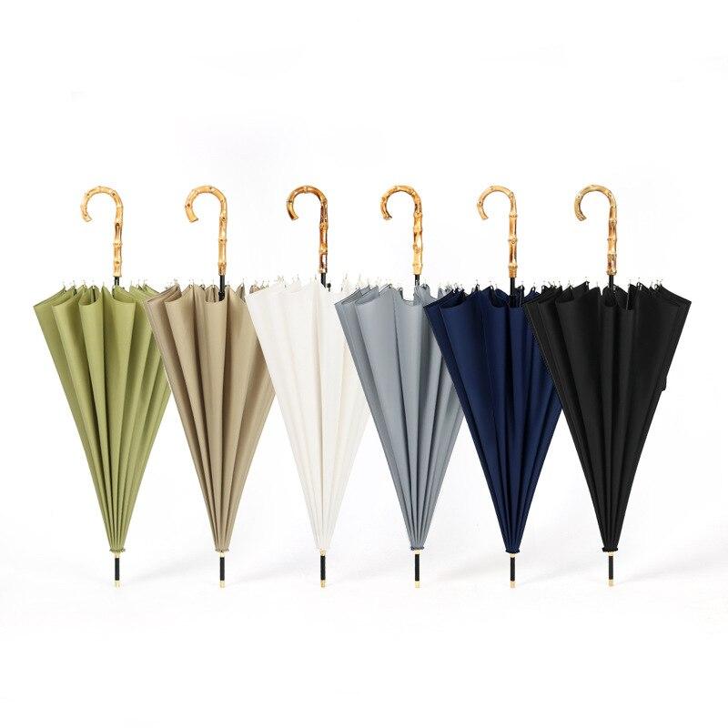 Yesello Bamboo Handle Strong Long Rain Umbrella Women Men 16K Glassfiber Japanese style Parasol