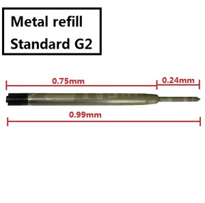 Image 2 - [4Y4A] 100pcs/lot Metal Cartridge Ballpoint G2 refill Standard size Writing Lead size 0.99mm Stationery Accessories Pen Parts