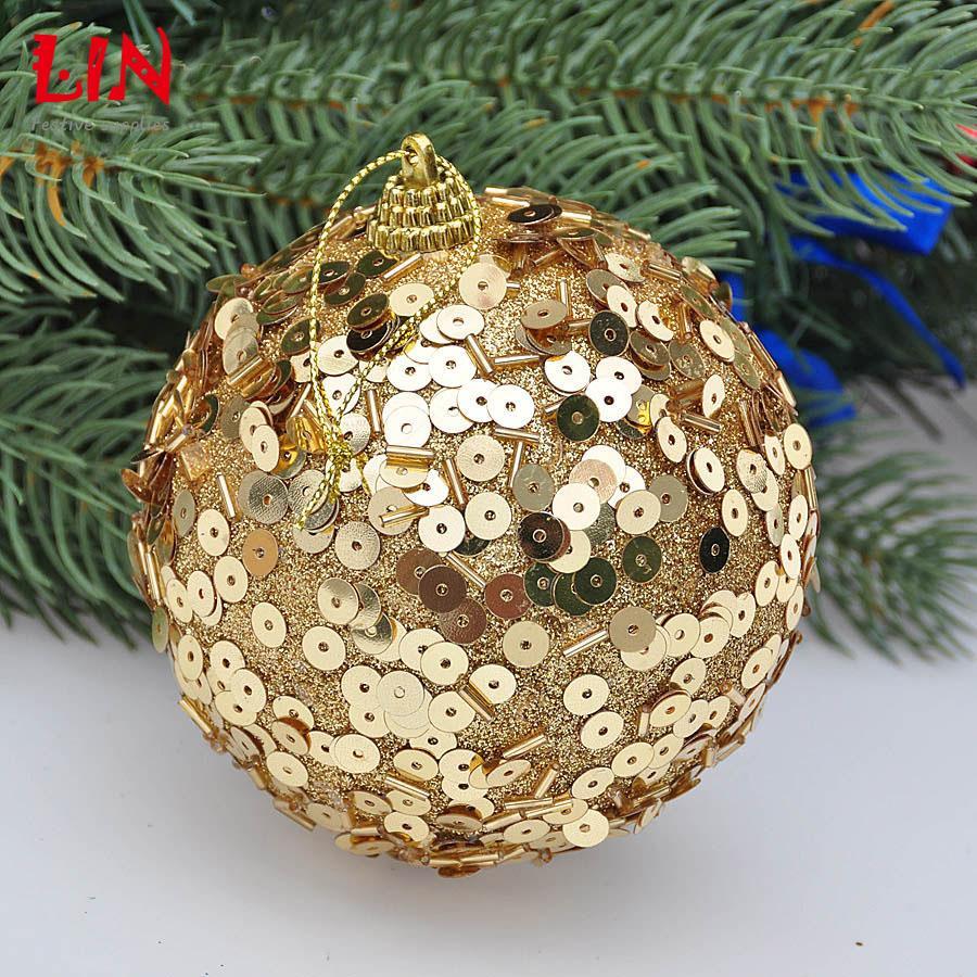 Styrofoam christmas ornaments - Aliexpress Com Buy Christmas Ornaments Sequins Decorative Foam 10cm Gold Decoration Natal Balls Adornos Navidad Craft Supplies Styrofoam Ball From