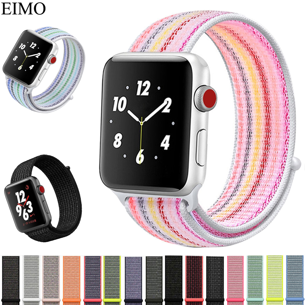 EIMO Sport Loop Band strap For Apple Watch woven nylon iWatch 3/2/1 42mm 38mm wristband Bracelet Breathable Lightweight Belt mu sen woven nylon band strap for apple watch band 42mm 38 mm sport fabric nylon bracelet watchband for iwatch 3 2 1 black