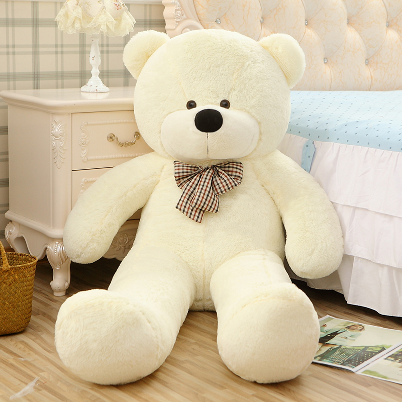 2018 High quality 200cm Giant teddy bear plush toys Life size teddy bear stuffed animals Children soft peluches Christmas gift 2016 movie teddy bear ted 2 plush toys in apron soft stuffed animals plush 45cm