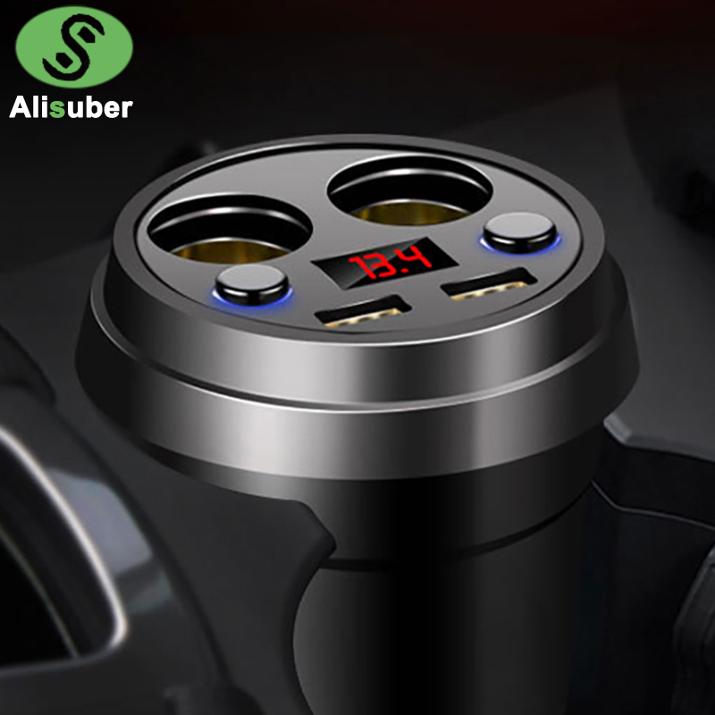 Alisuber Cup Dual USB Car Charger 3.1A Quick Charging Voltage Current LED Display 2 Cigarette Lighter Socket Car Phone Charger